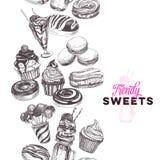 Illustrazione d'avanguardia disegnata a mano dei dolci di vettore Immagini Stock