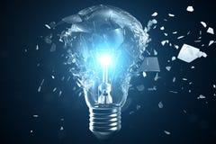 illustrazione 3D che esplode lampadina su un fondo blu, con il pensiero creativo di concetto e le soluzioni innovarici illustrazione vettoriale