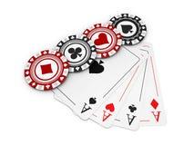 illustrazione 3d, chip neri e rossi del casinò e carta del gioco Immagine Stock