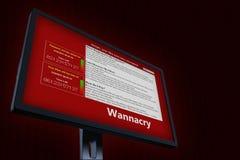 illustrazione 3d con il concetto del virus informatico Wannacry Immagine Stock Libera da Diritti