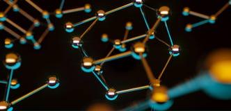 illustrazione 3D Concetto del collegamento dell'atomo Fondo di Abstrack scienza Immagine Stock