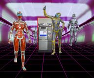 illustrazione 3D degli androidi futuristici in centro commerciale con il cash machine Immagini Stock
