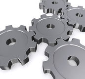 illustrazione 3D degli ingranaggi del metallo Immagine Stock