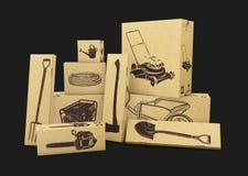 illustrazione 3d degli strumenti di giardinaggio in scatole di carboard isolate sul nero Commercio elettronico, acquisto di Inter Fotografia Stock Libera da Diritti