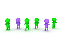 illustrazione 3D degli zombie verdi e porpora che strascicano i piedi in avanti Fotografia Stock
