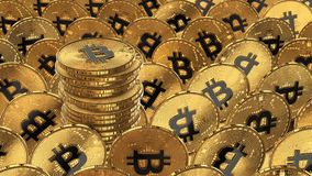 illustrazione 3D dei bitcoins che mettono sulla superficie Fotografie Stock Libere da Diritti