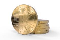 illustrazione 3d dei bitcoins dorati con il percorso di ritaglio Fotografia Stock