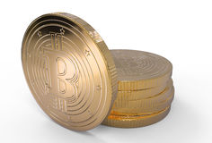 illustrazione 3d dei bitcoins dorati con il percorso di ritaglio Fotografie Stock Libere da Diritti