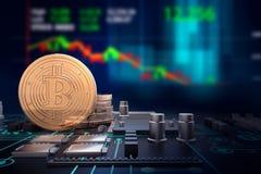 illustrazione 3d dei bitcoins dorati sulla scheda madre del computer Fotografia Stock Libera da Diritti