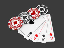 illustrazione 3d dei chip di Pocker e della carta del gioco, concetto del casinò Fotografia Stock