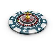 illustrazione 3d dei chip e delle roulette del casinò, isolata su bianco Fotografia Stock Libera da Diritti