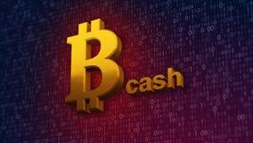 illustrazione 3d dei contanti del bitcoin, nuovi soldi virtuali su fondo digitale Fotografia Stock Libera da Diritti