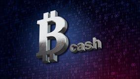 illustrazione 3d dei contanti del bitcoin, nuovi soldi virtuali su fondo digitale Immagine Stock
