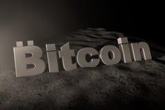 illustrazione 3d del bianco di Bitcoin dell'iscrizione nella luce della luna royalty illustrazione gratis