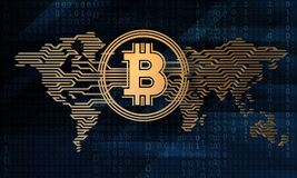illustrazione 3d del bitcoin cripto stilizzato di valuta sui precedenti della mappa di mondo elettronica Fotografie Stock Libere da Diritti