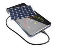 illustrazione 3d del blocco alimentatore mobile con i pannelli solari Immagini Stock Libere da Diritti