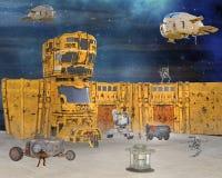 illustrazione 3D del campo di lavoro distopico futuristico equipaggiato in fuchi cyber robot Immagini Stock