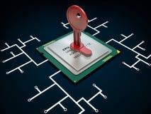 illustrazione 3d del chip codificato e di molti altri Immagini Stock