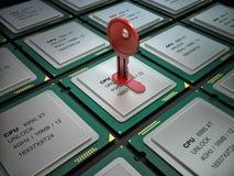 illustrazione 3d del chip codificato e di molti altri Fotografie Stock Libere da Diritti