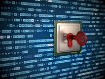illustrazione 3d del chip codificato e di molti altri Immagine Stock