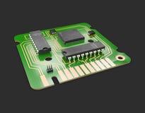 illustrazione 3d del chip di computer e del transistor Progettazione del chip di computer con un circuito della rete Fotografie Stock Libere da Diritti