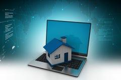 illustrazione 3d del computer portatile con la casa Immagini Stock