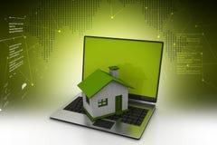 illustrazione 3d del computer portatile con la casa illustrazione di stock