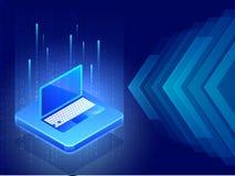 illustrazione 3D del computer portatile fra i raggi digitali della matrice sull'ab blu illustrazione vettoriale