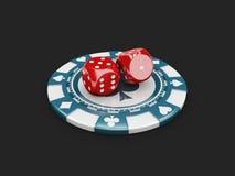 illustrazione 3d del concetto del casinò, dei dadi e del gioco dei chip fortunato Fotografia Stock Libera da Diritti