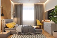illustrazione 3d del concetto di interior design della camera da letto nello stile scandinavo illustrazione vettoriale