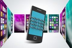 illustrazione 3d del concetto di protezione e sicurezza dello Smart Phone Immagine Stock Libera da Diritti