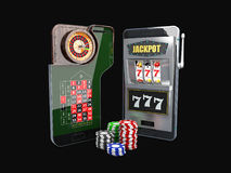 illustrazione 3d del concetto online del casinò di app Smart Phone con i chip Fotografia Stock