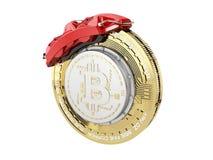 illustrazione 3d del disco della rottura con bitcoin d'argento Fotografia Stock