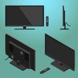 illustrazione 3D del LED moderno nero TV con isometrico telecomandato Fotografie Stock Libere da Diritti