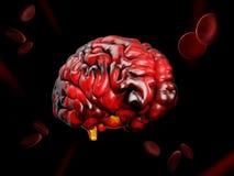 illustrazione 3d del modello di cervello umano su fondo nero royalty illustrazione gratis