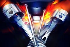illustrazione 3d del motore di automobile Alberi a gomito del motore dell'automobile Fotografia Stock Libera da Diritti