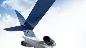 illustrazione 3d del motore a propulsione privato degli aerei con una parte di un'ala Immagini Stock