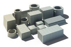 illustrazione 3d del mucchio degli oggetti concreti Fotografie Stock Libere da Diritti