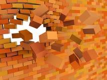 Schianto del muro di mattoni Fotografia Stock