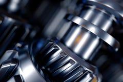 illustrazione 3d del primo piano delle ruote di ingranaggio del metallo Fotografie Stock