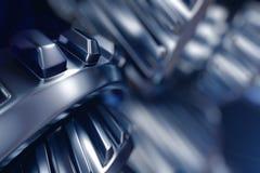 illustrazione 3d del primo piano delle ruote di ingranaggio del metallo Fotografie Stock Libere da Diritti