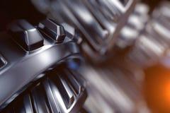 illustrazione 3d del primo piano delle ruote di ingranaggio del metallo Fotografia Stock