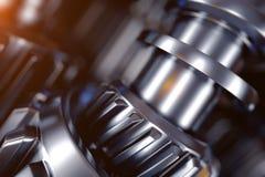 illustrazione 3d del primo piano delle ruote di ingranaggio del metallo Immagine Stock