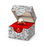 illustrazione 3d del primo piano di un contenitore di gioielli con l'anello di oro elegante con la perla Fotografie Stock Libere da Diritti