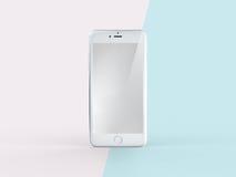 illustrazione 3D del telefono cellulare bianco sulla menta semplice di rosa pastello Illustrazione di Stock