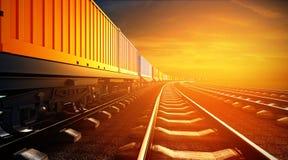 illustrazione 3d del treno merci con i contenitori sui binari Immagini Stock