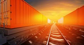 illustrazione 3d del treno merci con i contenitori sui binari sopra Fotografia Stock