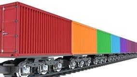 illustrazione 3d del vagone del treno merci con i contenitori Immagine Stock