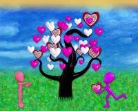 illustrazione 3D dell'albero del cuore con due figure del fumetto nell'amore illustrazione vettoriale