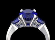 illustrazione 3D dell'anello con il diamante Priorità bassa nera dei monili del tessuto dell'argento e dell'oro Fashio Fotografia Stock